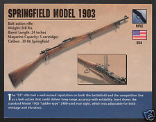 SPRINGFIELD MODEL 1903 RIFLE Bolt-Action Gun Classic Firearms PHOTO HISTORY CARD