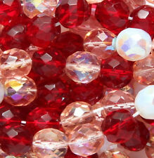 10mm Mixed Czech Fire Polished Ruby Pink White Round Faceted Glass Beads 20pcs