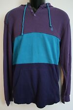 VOLCOM Mens Purple Blue Striped Colorblock Hooded Waffle Knit Henley Shirt LARGE
