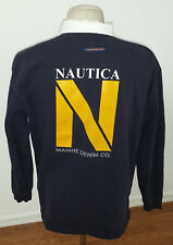 Nautica Marine Denim spellout cotton knit mens Rugby style shirt size M