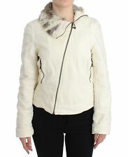 NWT $450 GF Gianfranco Ferre White Rabbit Fur Short Jacket Coat Blazer M / US 8