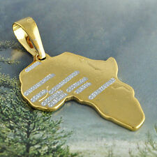 gold filled stainless steel mens pendant Africa Map for stainless steel necklace