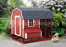 4 ft x 8 ft Chicken Coop with Run Plans, Barn / Gambrel Design 70408RB
