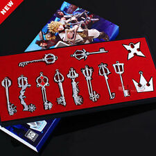 Kingdom Hearts 2 II Silvery 12 Key Blade Sora Keyblade Pendant Gift Necklace Set