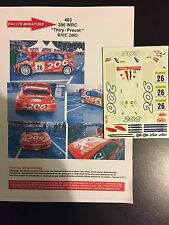 DECALS 1/43 PEUGEOT 206 WRC BRUNO THIRY RALLYE MONTE CARLO 2002 BELGIQUE RALLY