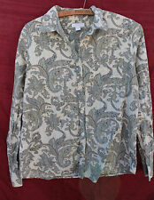 CHARTER CLUB size 8 green, white, yellow PAISLEY buttoned COTTON blouse