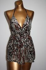 JALOUX Leopard Animal Print Silk Lined Babydoll Halter Top Womens Size Large