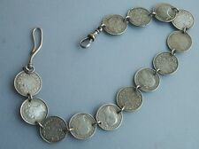 Old Vintage Antique Sterling Silver Sixpence Coin Pocket Watch Chain Victorian