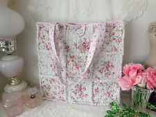 Shabby~Abby Pink Roses RAG QUILT SHOULDER BAG White Pearl Button NEW!