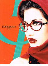 PUBLICITE ADVERTISING 094  1996  YVES SAINT LAURENT  lunettes LAETITIA CASTA
