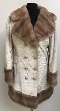 Vintage Coat-Country Pacer-Double Breasted-Cream Velvet-Brown Faux Fur Collar