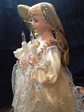 VINTAGE 1994 LIGHTED PORCELAIN ANGEL TREE TOPPER Christmas GOLD LACE 12""