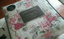 NEW LAURA ASHLEY Full QUEEN QUILT SET 3PC Rose chic shabby Lidia Pink FLORAL