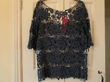 Aimilian size XL airforce blue NWT open lace top