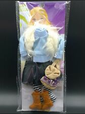 light blue winter clothes set for barbie doll accessories with shoes handbag
