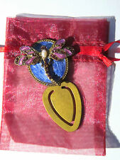 Bookmark Gold Purple Blue Metal Crystal Dragonfly Birthday Gifts Him Her Teacher