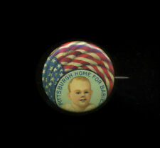 "c1907-20 Pittsburgh Home for Babies Celluloid Pinback Button 7/8"" American Flag"