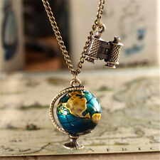 Vintage Globe Earth Telescope Enamel Pendant Long Necklace Sweater Chain NEW