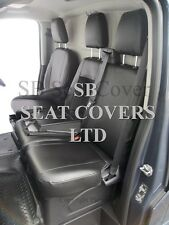 TO FIT A FORD TRANSIT CUSTOM VAN SEAT COVERS - 2016, EBONY BLACK LEATHERETTE