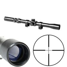 Tactical 3-7X20 Air Gun Rifle Optics Cross Reticle Scope +20mm Mounts +Red Laser