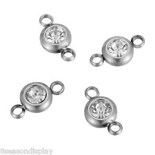 25PCs Stainless Steel White Rhinestone Round Connector Jewelry Finding 12x6.5mm