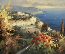 Mediterranean Seascape by Peter Bell Canvas Giclee Flowers Sail Boats 18x24