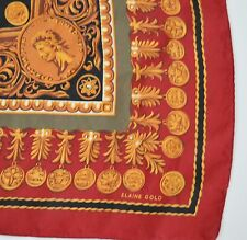 Elaine Gold Coin Medallion 30in Vibrant Red Silk Scarf Yellow Currency Money