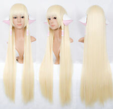 Chobits CHII 100cm super long pale milk blonde COSPLAY wig Gift ears accessories