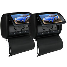 "2x 9"" In Car Pillow Headrest DVD Player Digital TV Monitor LCD HD Screen Dual UK"
