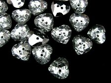 25 x 12mm Silver Plated Acrylic Heart Two Hole Button Plastic Crystal Glass F94
