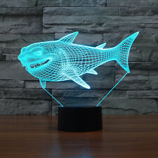 Shark 7 Colors Desk Table Lamp Acrylic 3D LED Night Light Touch Switch USB