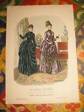Gravure MODE couleur GRAND FORMAT La mode illustrée : femmes au salon 1886 N°1