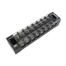 8 Position Screw Barrier Strip Terminal Block with Cover 15A Panel Mount