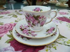 VINTAGE Queen Anne inglese CHINA TRIO TAZZA PIATTINO Tè PIASTRA DI ROSE ROSA 8575