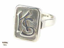 Art Deco Willi Stoll Leipzig 900 Silber Siegel Wappen KS Monogramm Ring