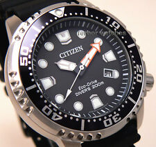 CITIZEN ECO DRIVE PROMASTER BLACK RUBBER BAND SCUBA DIVER 200m BN0150-10E cg