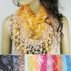 Comely Lace Tassel Rose Floral Knit Mantilla Triangle Hollow Scarf Shawl Wrap
