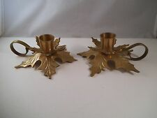 Adorable Pair of Brass Made in India Holly Candle Holders Taper Berry Christmas