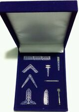 "FREEMASONS WORKING TOOLS""DESK GIFT SET IN SILVER TONE+VELVET BOX!"