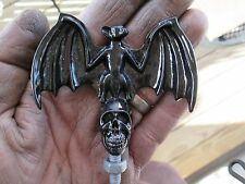 rare black vampire bat on skull, Halloween, hot rod, rat rod, car hood ornament
