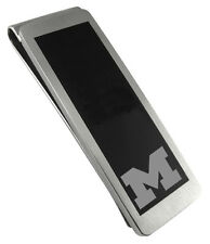 MICHIGAN WOLVERINES * Stainless Steel & Black Money Clip with School Logo * NCAA