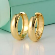 24k Yellow Gold Filled Womens Earrings 21MM Charm Hoop 5mm Huggie GF Jewelry Hot