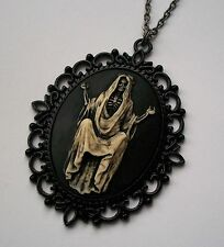 Santa Muerte Day of the Dead LADY SKELETON SKULL Painted Cameo Necklace