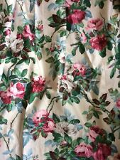 """Sanderson &sons Floral """"eynsham"""" Glazed Cotton Curtains Vintage Lined Weighted"""