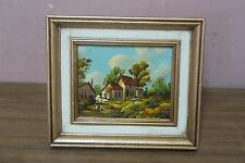 Vintage Original Oil on Panel Board Painting French Countryside Scene - Framed