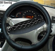 FOR MERCEDES S CLASS W220 98-05 BLACK LEATHER STEERING WHEEL COVER WHITE STITCH