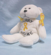 "Patriotic ""Hurry Home"" Plush White Teddy Bear Plushland 2006 Yellow Ribbon"