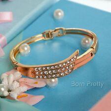 1Pc Elegant Rose Gold Angle Wing Rhinestone Charming Bangle Bracelet Jewelry