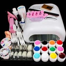 Professional Kit 36W White Curing Lamp Dryer + 12 Color UV Gel Nail Art Tools MT
