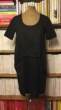 COS dress 38 UK 12 black draped front knot cocoon loose cotton minimalist